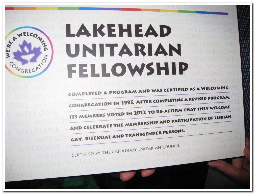 Welcoming congregation plaque